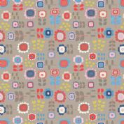 Lewis & Irene - Hann's House - 5818 - Modern Multicoloured Floral on Taupe - A279.3 - Cotton Fabric